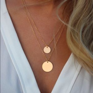 NWT Round disk simple classic necklace